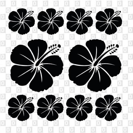 Hawaiiblüten Hibiskusblumen Kleber Aufkleber konturgeschnitten Hibiskusblütenmotiv Set