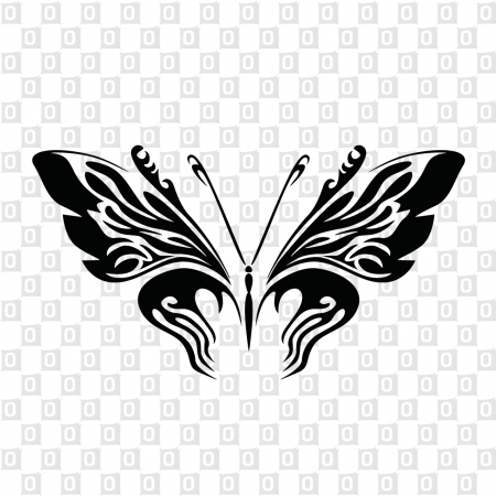 Konturschnitt als Schmetterlingsmotiv