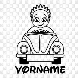 Babyaufkleber Baby mit Auto Namenskleber für Auto