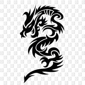 Drachen Dragon Tribal Konturschnitt Kleber Aufkleber
