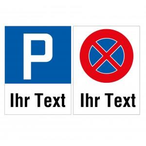 Parkplatzschild Freitext, Hochformat