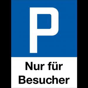 Parkplatzschild P nur für Besucher, Hochformat