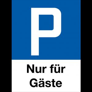 Parkplatzschild P Nur für Gäste, Hochformat