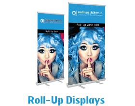 Roll-Up Dispalys und Plakate mit Aufhängesysteme. Kundenstopper & Strassensteller in diversen grössen